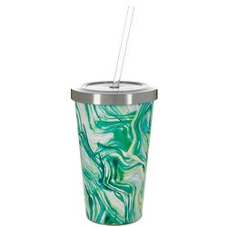 Nukuze 17 oz. Stainless Steel Water Ripple Tumbler & Straw