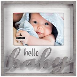 Malden 4'' x 6'' Hello Baby Laser Cut Shadow Box Photo Frame