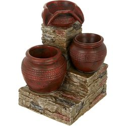 New Port Coast Collection Rustic Pottery LED Fountain