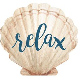P. Graham Dunn Relax Seashell Pine Wood Sign