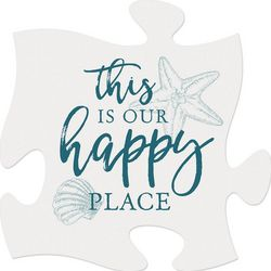 P. Graham Dunn Our Happy Place Puzzle Piece Wood Sign