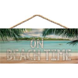 P. Graham Dunn On Beach Time Rope Hanging Wall Sign