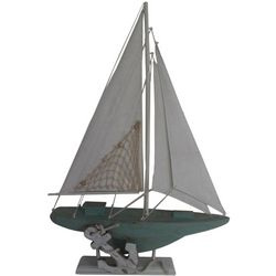 Fancy That Seascape Sailboat With Anchor Figurine