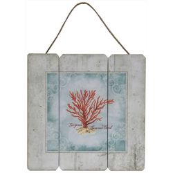 Fancy That Mermaid Crossing Coral Hanging Wall Sign