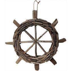 Fancy That Palm Breeze 24'' Driftwood Ship Wheel Decor