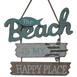 Fancy That Ocean Wave Beach Is My Happy Place Wall Plaque