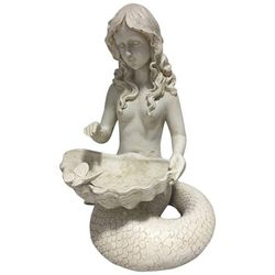 Fancy That Seafoam Shores Mermaid With Bird Bath Figurine