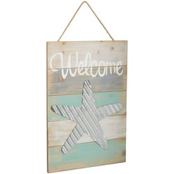 Fancy That Seafoam Shores Welcome Starfish Wall Plaque