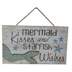 Fancy That Seafoam Shores Mermaid Kisses Wall Sign