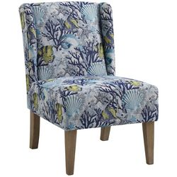 Linon Deep Marine Upholstered Wing Chair