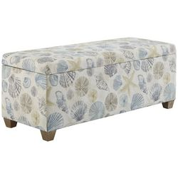 Linon Just Beachy Seaglass Upholstered Storage Bench