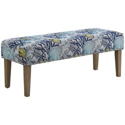 Linon Deep Marine Print  Upholstered Bench