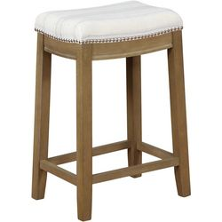 Linon Upholstered Striped Counter Stool