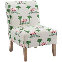 Linon Flamingo Print Lily Upholstered Slipper Chair