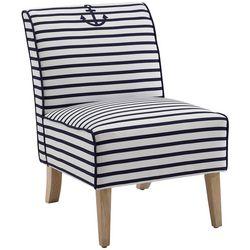 Linon Anchor Stripe Lily Upholstered Slipper Chair
