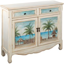 Coast To Palm Tree Two Door Drawer Cabinet