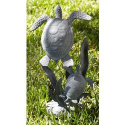 Sea Turtle Pair Metal Garden Figure