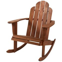 Linon Teak Adirondack Rocking Chair