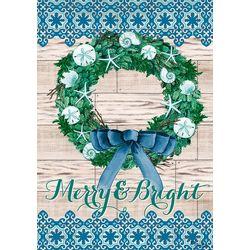 Custom Decor Merry & Bright Wreath Garden Flag