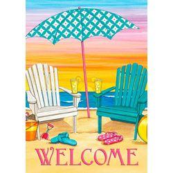 Custom Decor Welcome Beach Chairs Garden Flag
