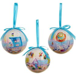 Ellen Negley 3-pc. Beach Life Ball Ornament Set