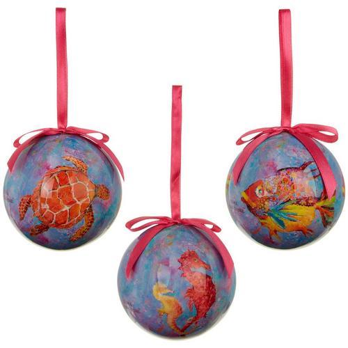 close - Leoma Lovegrove 3-pc. Sea Critters Ball Ornament Set Bealls Florida