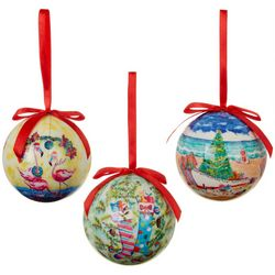Ellen Negley 3-pc. Florida Christmas  Ball Ornament Set