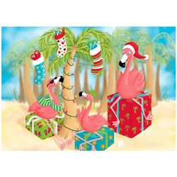 Brighten the Season Flamingo & Presents Greeting Cards