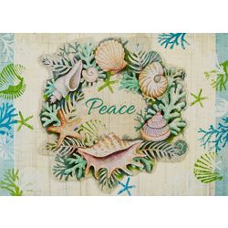 Brighten the Season Shell Wreath Peace Greeting Cards