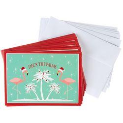 Brighten The Season Deck The Palms Flamingo Greeting Cards