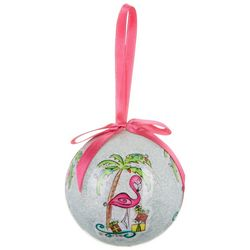 Brighten the Season Flamingo & Palm Tree Ball Ornament