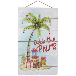 Brighten the Season Palmingo Plush Deck The Palms Wall Sign
