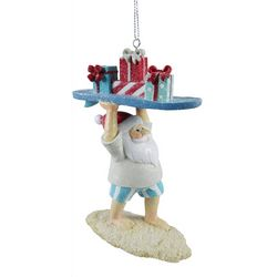 Brighten The Season Surfing Santa With Gifts Ornament