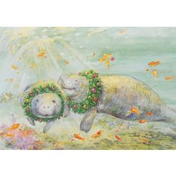 Brighten the Season Manatees Greeting Cards