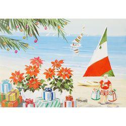 Brighten the Season Poinsettias On The Beach Greeting Cards
