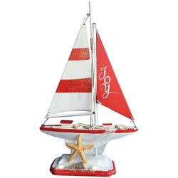 Brighten the Season Deck The Palms Stripe Sailboat Figurine