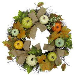 Brighten The Season 22'' Pumpkin Wreath