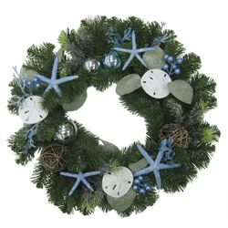 Brighten the Season Sandy Shores 24'' Blue Starfish Wreath