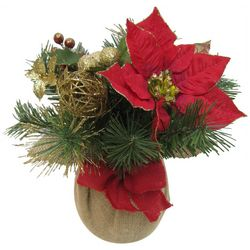 Brighten the Season Poinsettia Burlap Pot Arrangement