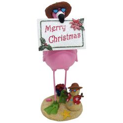 Brighten the Season Palmingo Posh Flamingo Sign Figurine