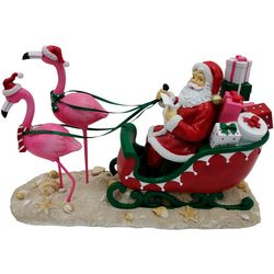 Brighten the Season Santa with Flamingo Sleigh