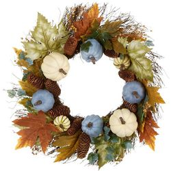 Brighten the Season 24'' Blue & White Pumpkin Wreath