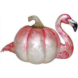 Brighten The Season Capiz Flamingo Pumpkin Figurine