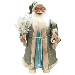 Brighten the Season 24'' Blue Fabric Coastal Santa Figurine