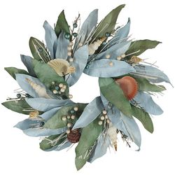 Brighten the Season Sandy Shore Mango Leaves Mini Wreath