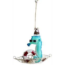 Brighten the Season Coastal Seahorse Boat Ornament