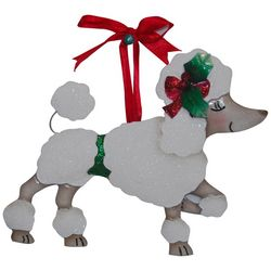 Brighten the Season Poodle Red Bow Ornament