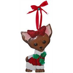 Brighten the Season Chihuahua With Red Bow Ornament