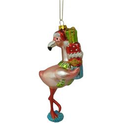 Brighten the Season Flamingo with Gifts Ornament