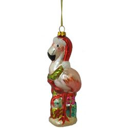 Brighten the Season Flamingo with Hat Ornament